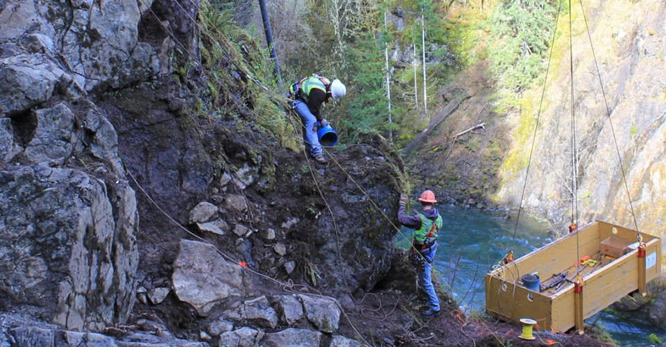 McCallum Rock Drilling Team Working on Lake Cushman Dam
